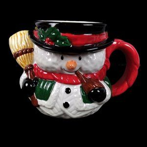 3D Relief Snowman w/ Broom Mug Cup Holiday